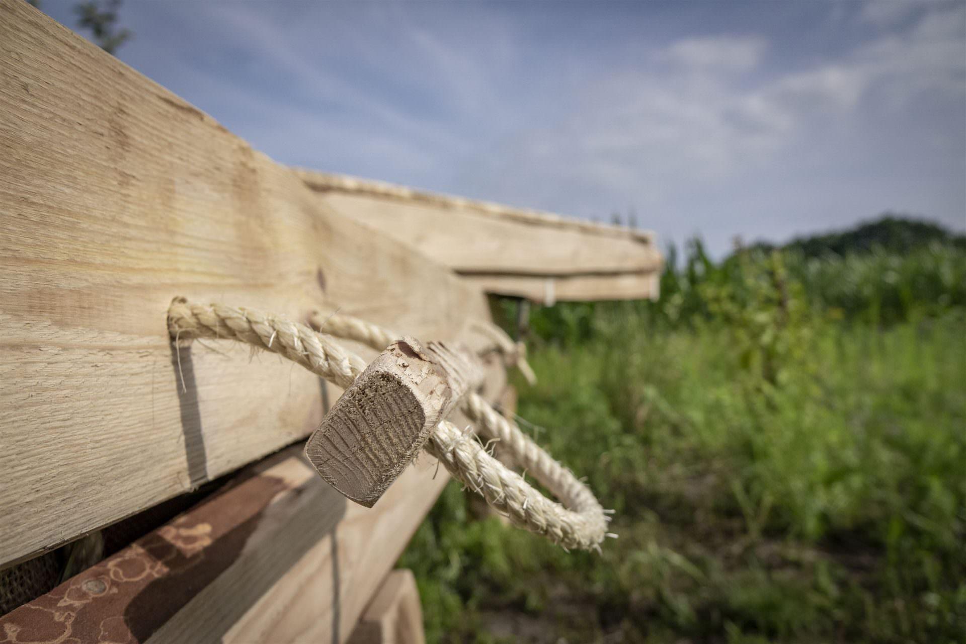 massief houten handgreep, natuurlijke touw